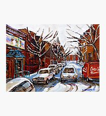 MONTREAL ART FAIRMOUNT BAGEL IN WINTER WITH COCA COLA TRUCK PLATEAU MONTREAL STREET SCENE Photographic Print