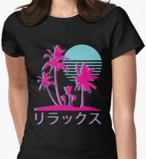 Vaporwave Aesthetic // Neon Palms Fitted T-Shirt