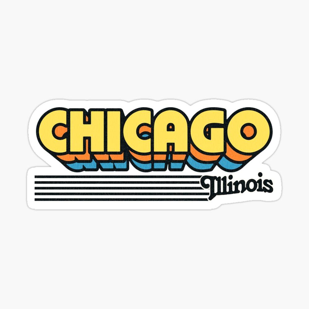 Chicago, Illinois | Retro Stripes Sticker