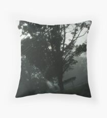 Tipsy Mailboxes in the Fog Throw Pillow