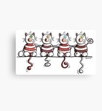 Four Happy Cats Canvas Print