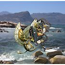 Steampunk Dragons & Dolphins flying over Fish Hoek beach by NadineMay