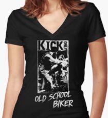 Kick Only - Old School Biker Tailliertes T-Shirt mit V-Ausschnitt