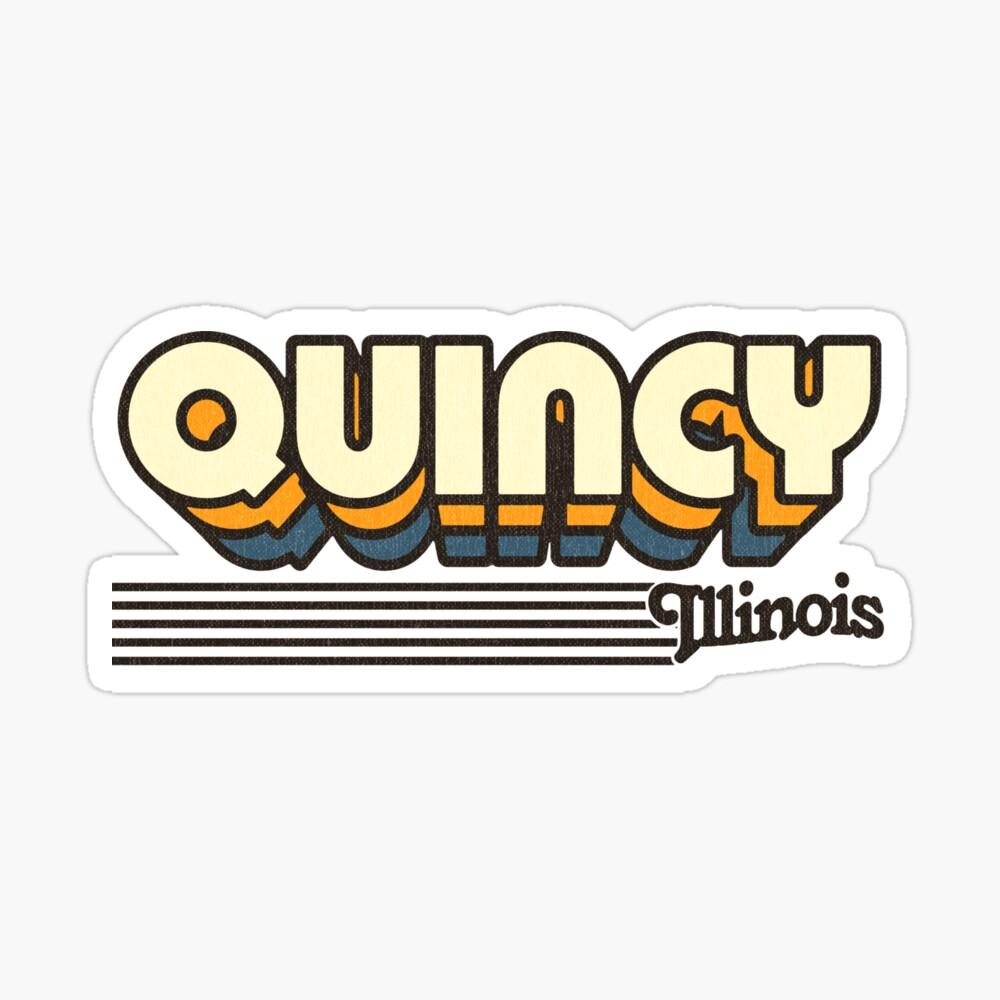 Quincy, Illinois | Retro Stripes Sticker