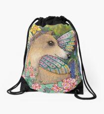 Spring whippet dog fairy, in the garden Drawstring Bag