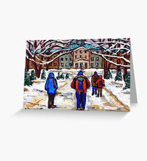 MCGILL UNIVERSITY CAMPUS WINTER CLASSES BEST MONTREAL ART CANADIAN PAINTINGS Greeting Card