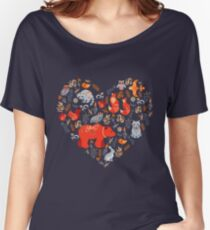 Fairy-tale forest. Fox, bear, raccoon, owls, rabbits, flowers and herbs on a blue background. Women's Relaxed Fit T-Shirt
