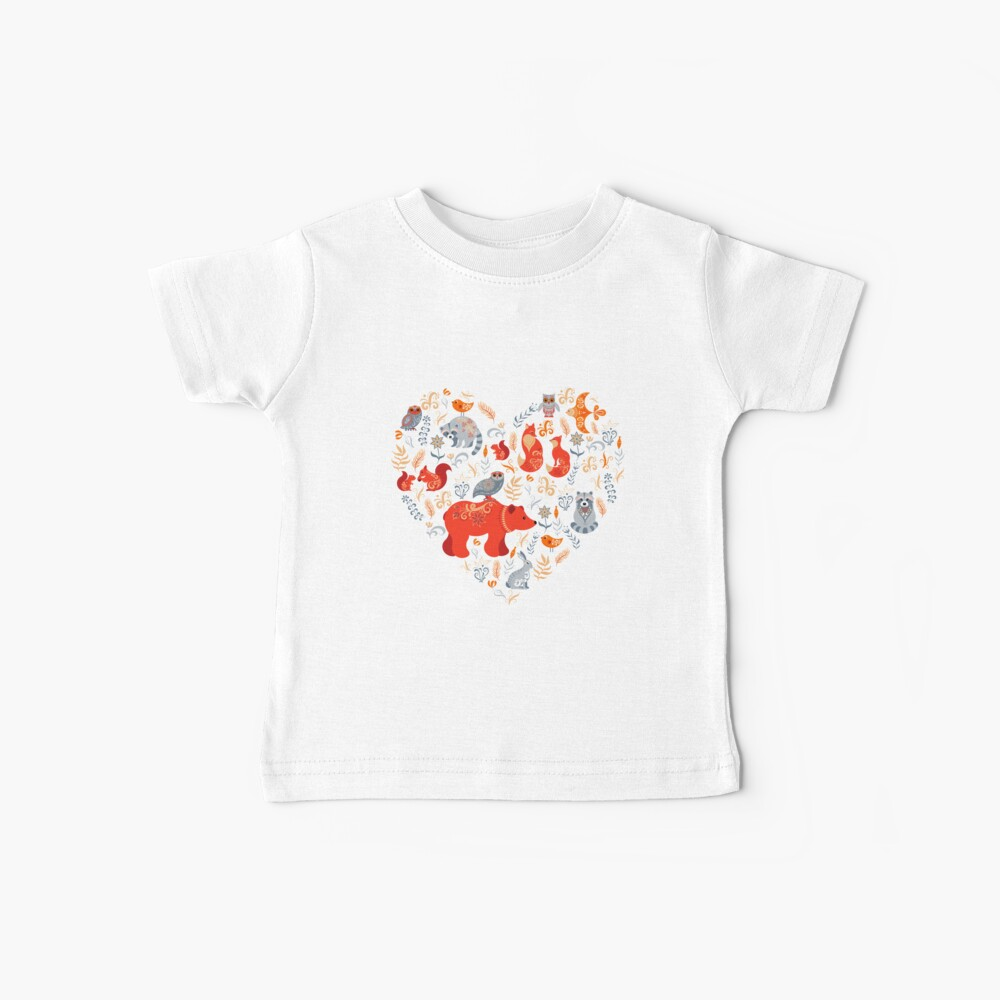 Fairy-tale forest. Fox, bear, raccoon, owls, rabbits, flowers and herbs on a blue background. Baby T-Shirt