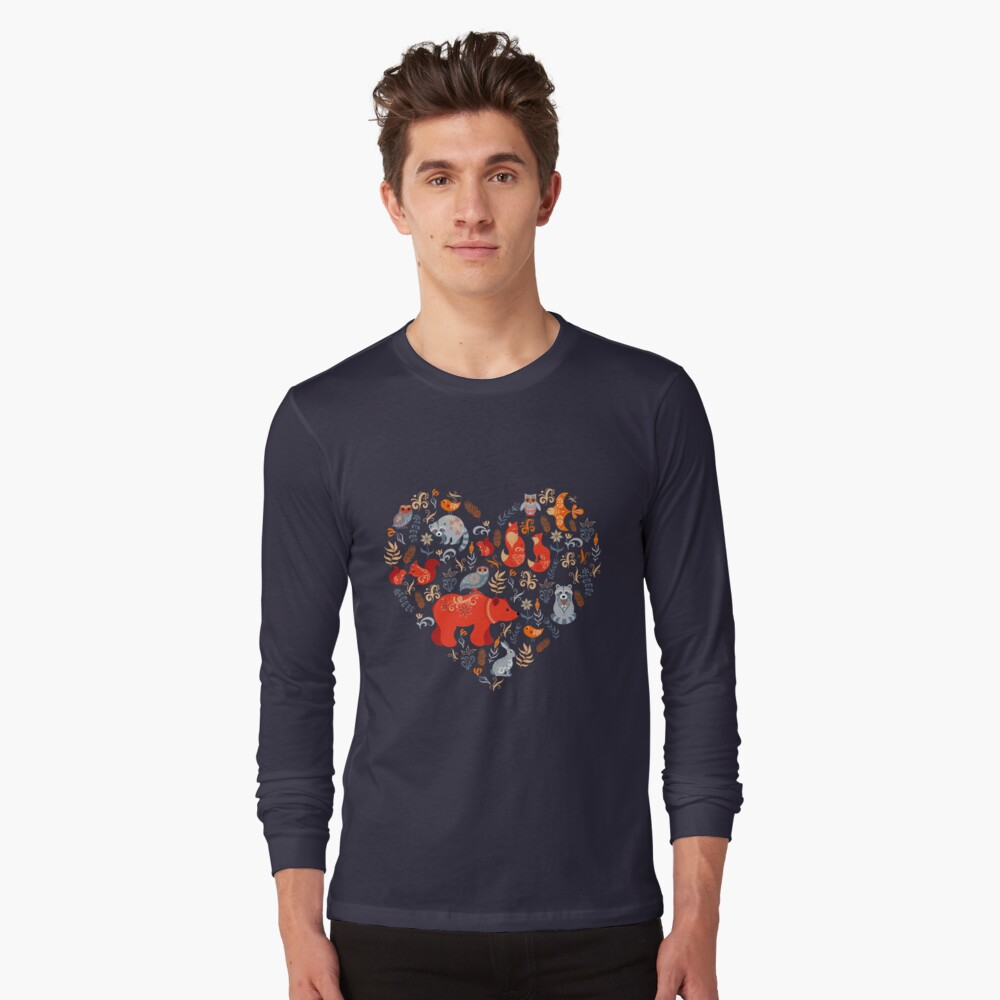 Fairy-tale forest. Fox, bear, raccoon, owls, rabbits, flowers and herbs on a blue background. Long Sleeve T-Shirt