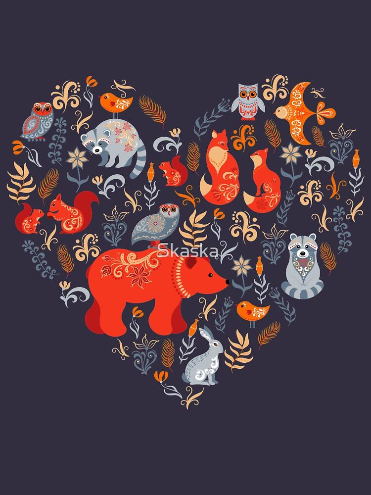 Märchenwald. Fox, Bär, Waschbär, Eulen, Hasen, Blumen und Kräuter auf blauem Grund. von Skaska