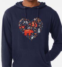 Märchenwald. Fox, Bär, Waschbär, Eulen, Hasen, Blumen und Kräuter auf blauem Grund. Leichter Hoodie