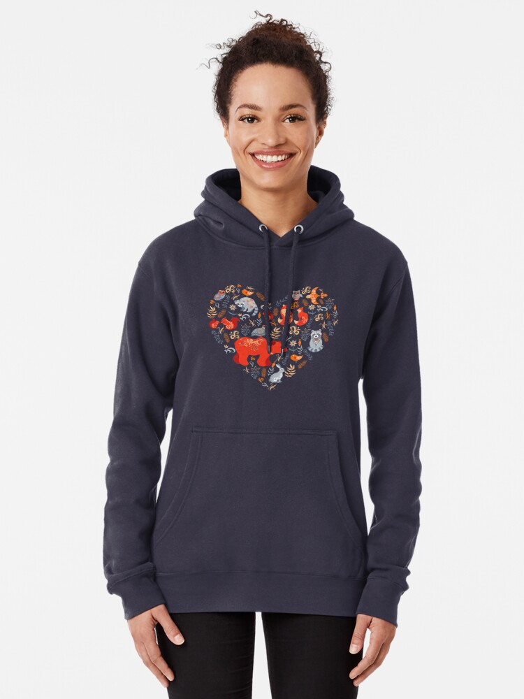 Alternate view of Fairy-tale forest. Fox, bear, raccoon, owls, rabbits, flowers and herbs on a blue background. Pullover Hoodie