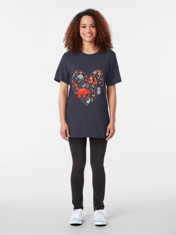Alternate view of Fairy-tale forest. Fox, bear, raccoon, owls, rabbits, flowers and herbs on a blue background. Slim Fit T-Shirt