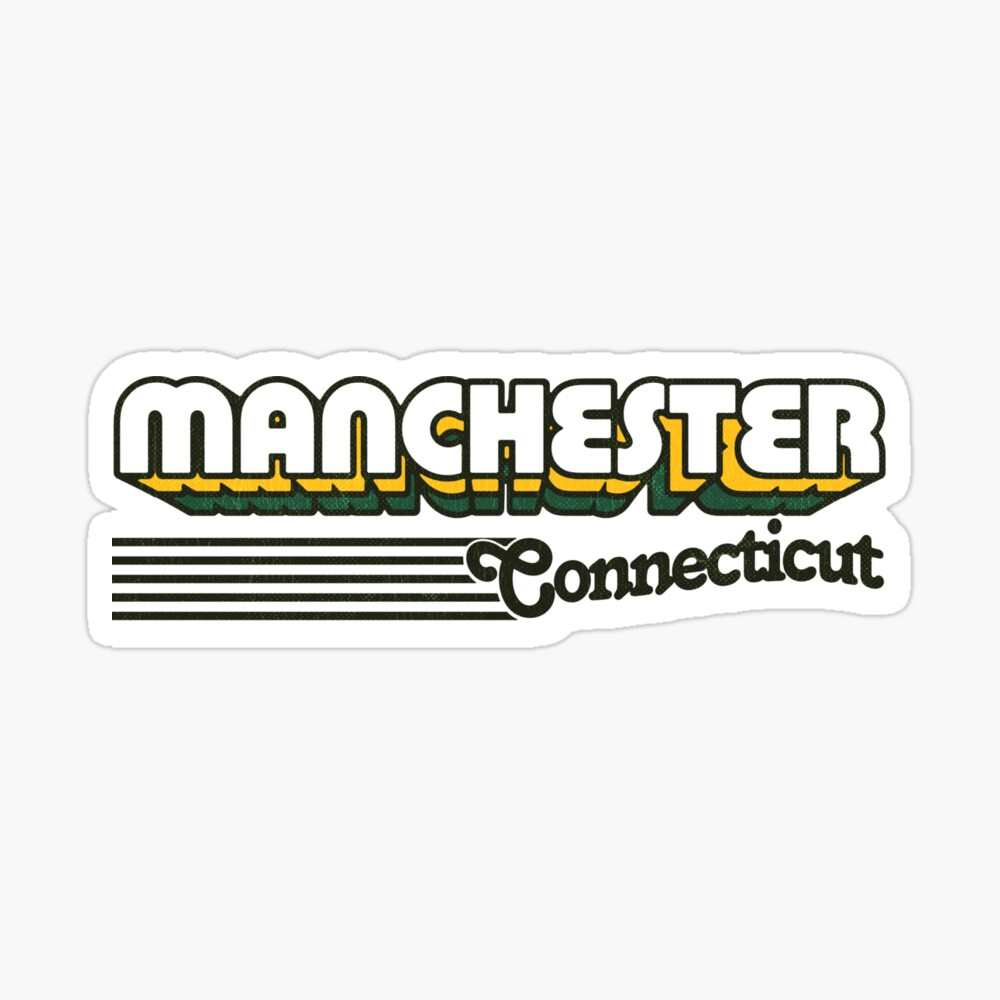 Manchester, Connecticut | Retro Stripes Sticker