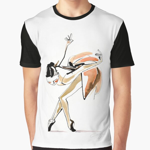 Expressive Watercolor Dance Drawing Graphic T-Shirt