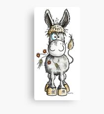 Cute Donkey With Flowers Canvas Print