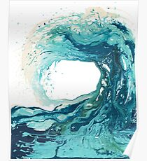 Ocean Wave Art Print Picture - Turquoise Sea Surf Beach Decor  Poster