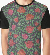 Scarlet roses with green leaves on dark background Graphic T-Shirt