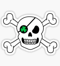 Skull Shamrock Pirate St. Patrick's Day Green Clover Sticker