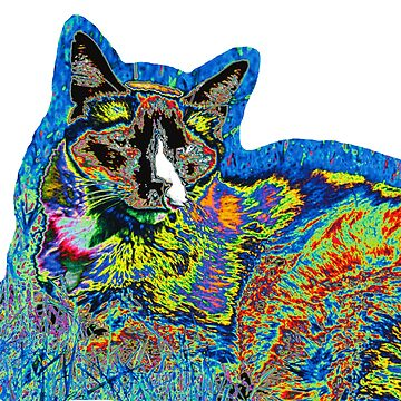Alfie on Grass - Psychedelic Cat IV by dcartist333