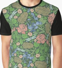 Blue sweet peas with pink roses and dragonflie on green background  Graphic T-Shirt