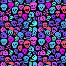 seamless SKULL PATTERN fun colors by Carl Huber