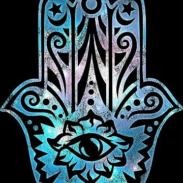 HAMSA HAND of Fatima Protection Vintage Galaxy Space by nitty-gritty