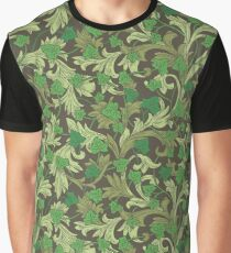 Green ivy with ornament on dark brown background Graphic T-Shirt