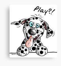 Play?! Damatian dog Cartoo Canvas Print