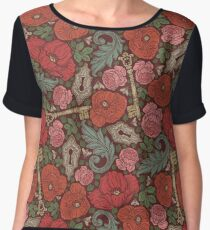 Red poppies and roses with golden keys on dark background Chiffon Top