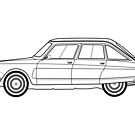 Citroen Ami 8 Line drawing artwork by RJWautographics