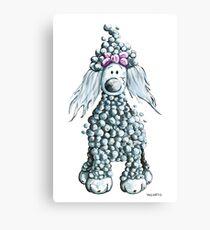Cute Blue Poodle Canvas Print