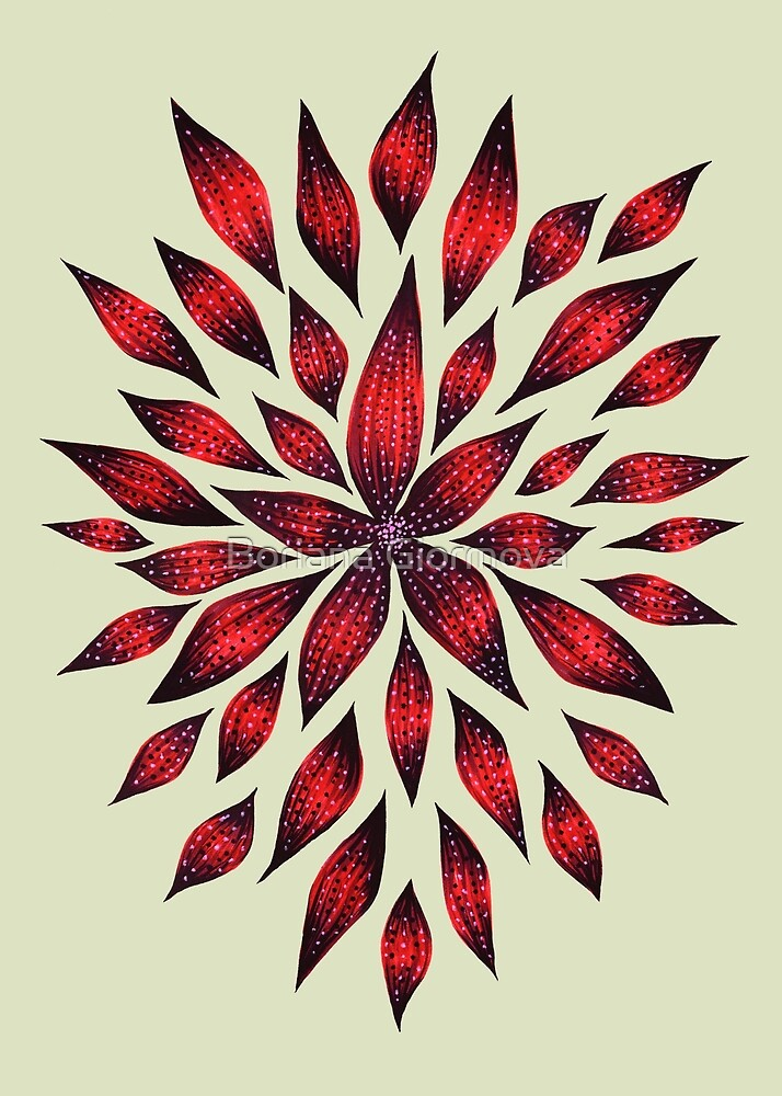 Abstract Red Flower Doodle     by Boriana Giormova