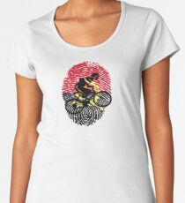 Cycling It's In My DNA Angola FingerPrint Of angola Flag With Bike For People Who Love Biking And Cycling Women's Premium T-Shirt