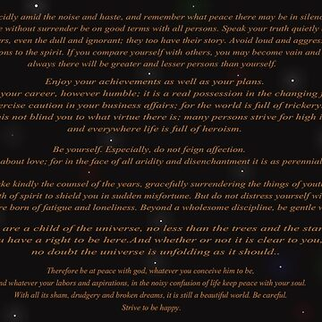 The Desiderata (In Space) by CiipherZer0