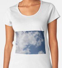 Sky Blue, Clouds White Women's Premium T-Shirt