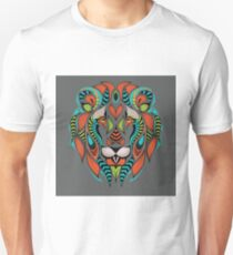 Patterned Colored Head of a Lion Unisex T-Shirt