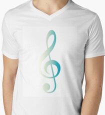 Treble Clef Blue gradient  Men's V-Neck T-Shirt