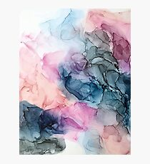 Heavenly Pastels 1: Original Abstract Ink Painting Photographic Print
