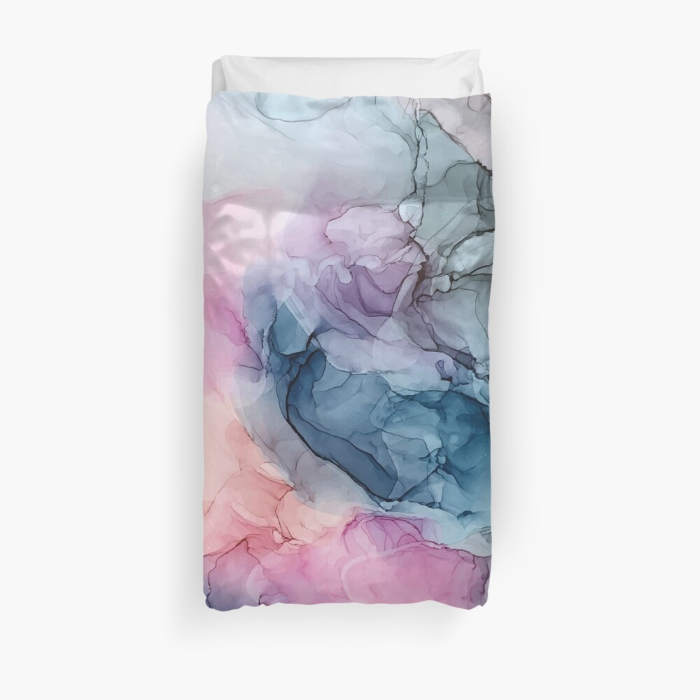 Himmlische Pastelle 1: Original abstrakte Tuschmalerei Bettbezug