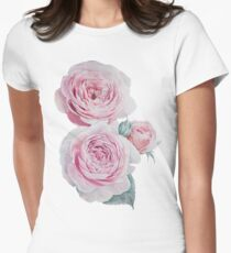 Watercolor Austin Roses Pattern Women's Fitted T-Shirt