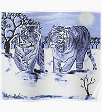 Snow Tigers Blue Justin Beck Picture 2015088 Poster