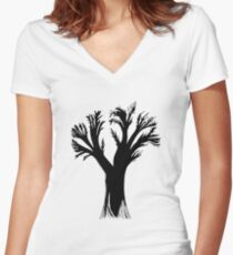 Black Tree Silhouette Shadow Outline Women's Fitted V-Neck T-Shirt