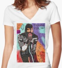 Basquiat MC Ride Women's Fitted V-Neck T-Shirt