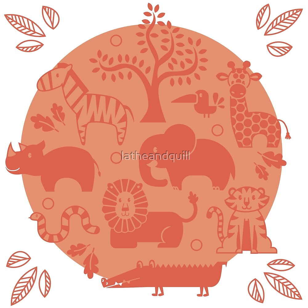 Coral Zoo Animal Pattern by latheandquill