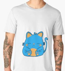 Cute Kitty Cat - Blue Men's Premium T-Shirt