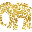Floral Elephant in Gold by latheandquill