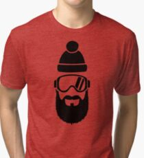 Ski goggles full beard Tri-blend T-Shirt