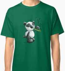 Cute Panda Bear With Bamboo Flute Classic T-Shirt