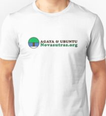 Small Novasutras Logo with Agaya & Ubuntu plus URL Across Slim Fit T-Shirt